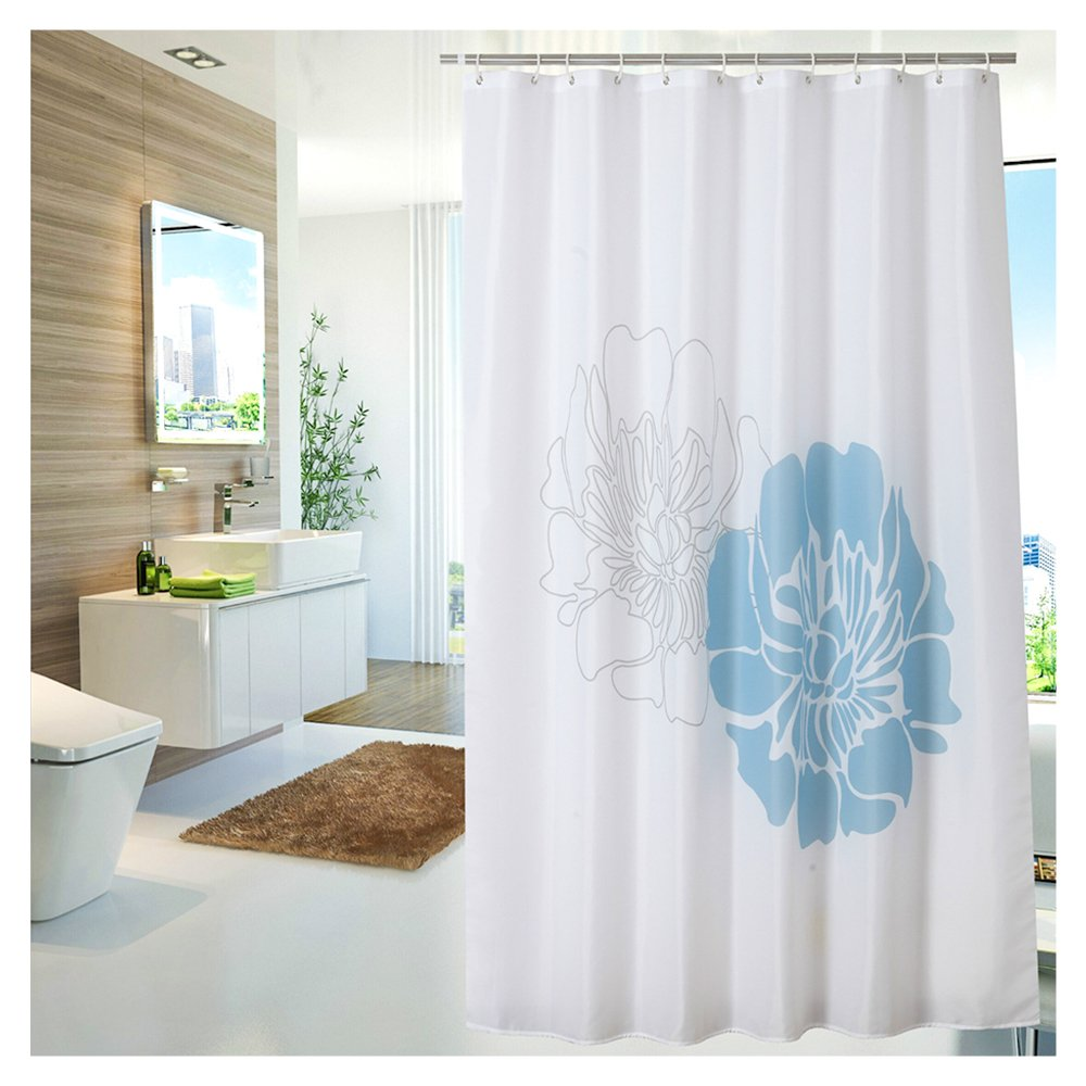 YUUNITY Polyester Fabric Shower Curtain For Bathroom Mildew Resistant Waterproof Non Toxic Floral Printed 72x80 White
