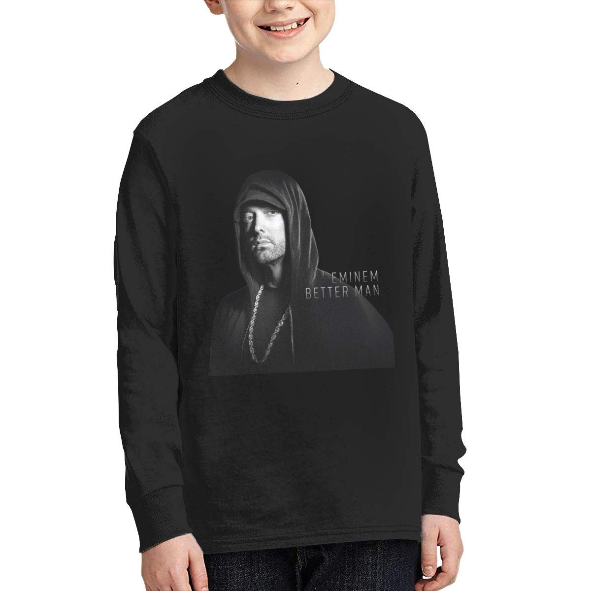 MichaelHazzard Eminem Youth Wearable Long Sleeve Crewneck Tee T-Shirt for Boys and Girls