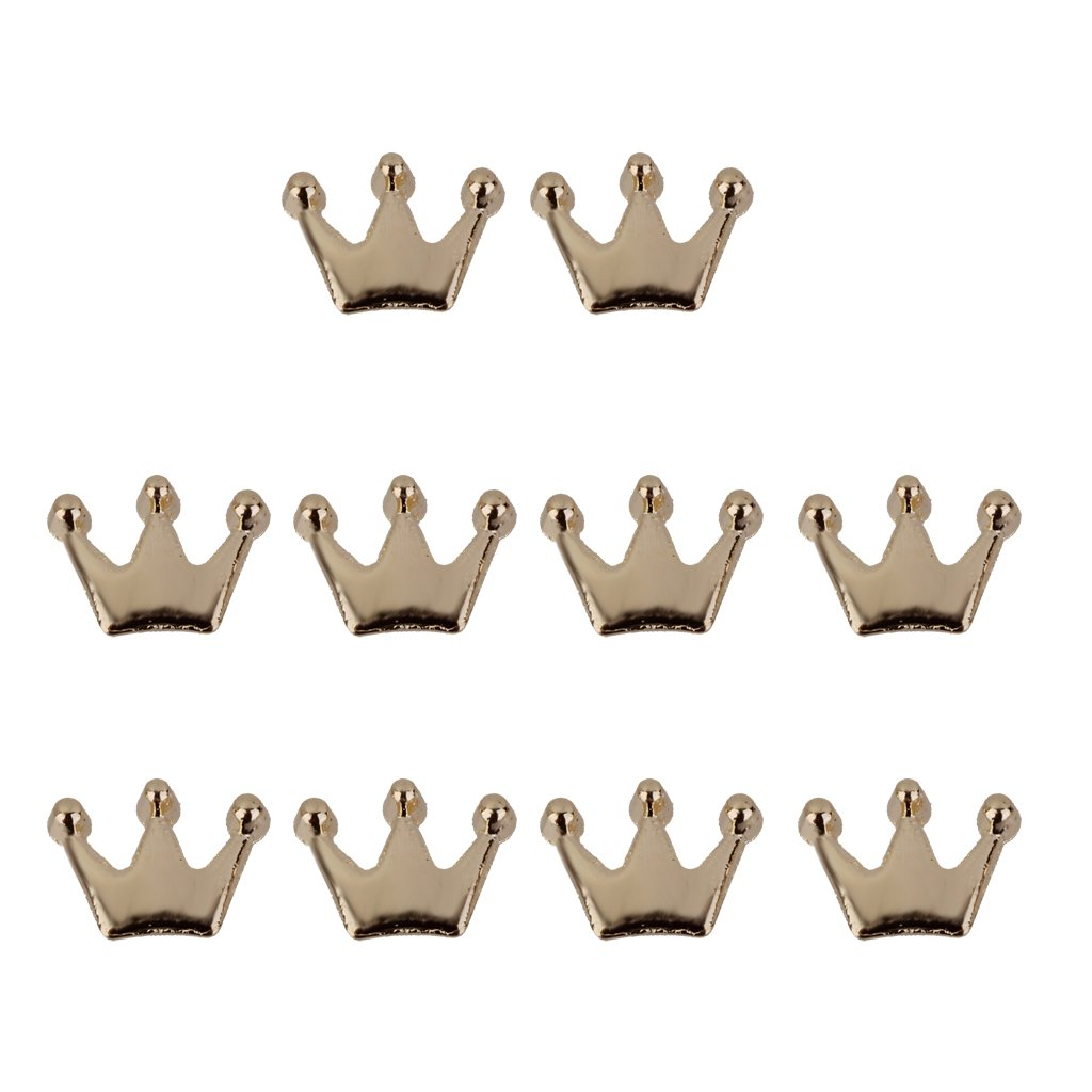 10pcs 3D Crown Nail Art Tip DIY Charms Manicure Decoration - Golden Generic