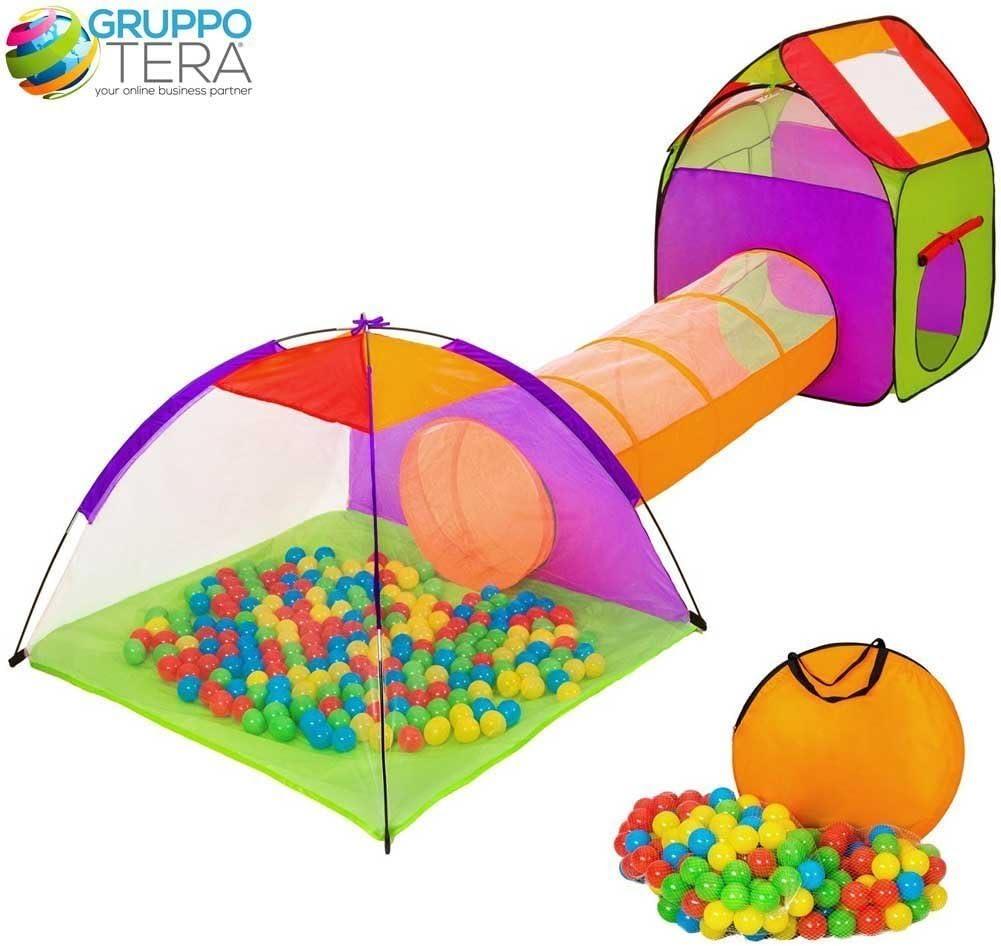 BAKAJI Igloo Tienda de campaña para niños con 200 Bolas + Túnel Casetta Que juegan la Tienda con Bolas Infantiles, Plegable Pop-UP del Sistema, Que Ahorra Espacio
