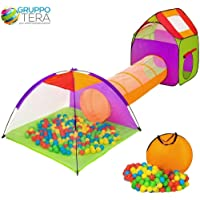 BAKAJI Tenda Igloo per Bambini con 200 Palline + Tunnel + Casetta Tenda da Gioco con Palline per Bambino, Pieghevole Sistema Pop-UP, Salvaspazio