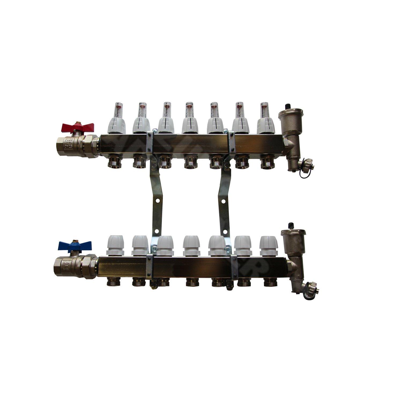 4 Heizkreise Heizkreisverteiler Edelstahl mit Durchflussanzeige f/ür Fu/ßbodenheizung von EasyTHERM