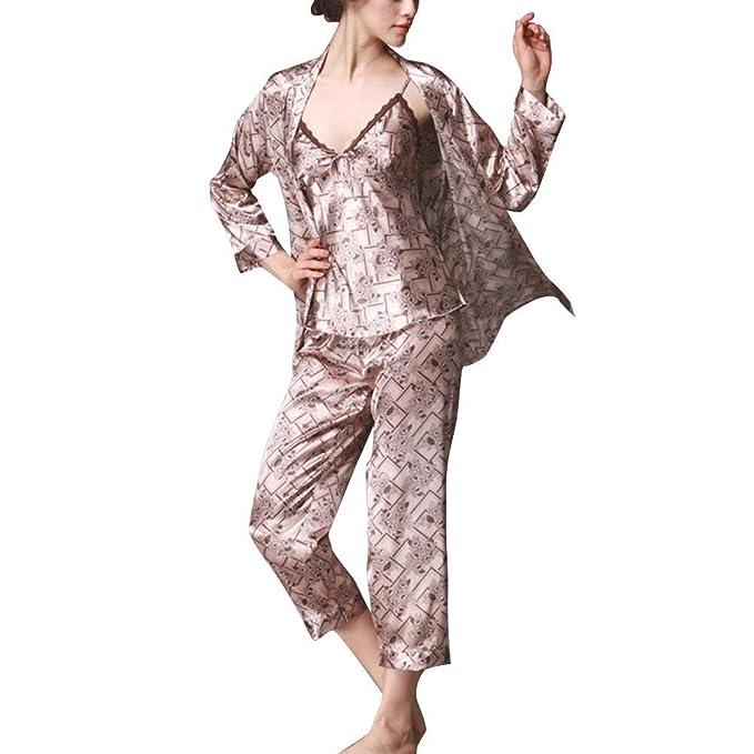 Mujer Conjunto De Pijama Camisola + Pants + Cardigan 3 Piezas Primavera Otoño Pijamas Mujer Clásico Elegantes Manga Larga V-Cuello Impresión Batas Ropa De ...