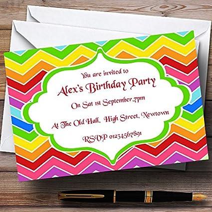 Bright colores del arco iris tema invitaciones para ...