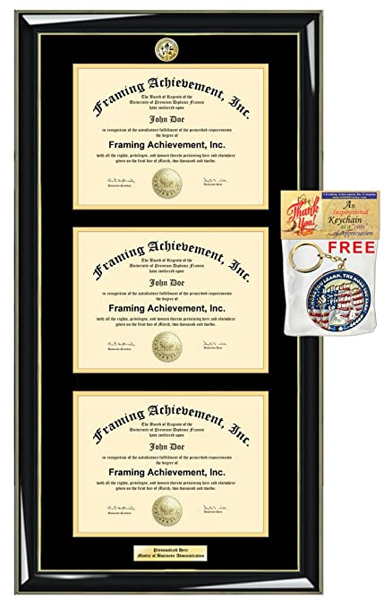 Amazon.com : Three Certificate Frame with Choice Logo Seal Triple ...