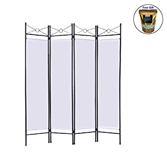 White 4 Panel Room Divider Privacy Folding Screen Home Office Fabric Metal Frame
