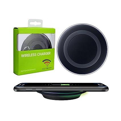 ACTECOM® Cargador INALAMBRICO QI Negro Compatible para Samsung Galaxy S8, S8 Edge + Plus