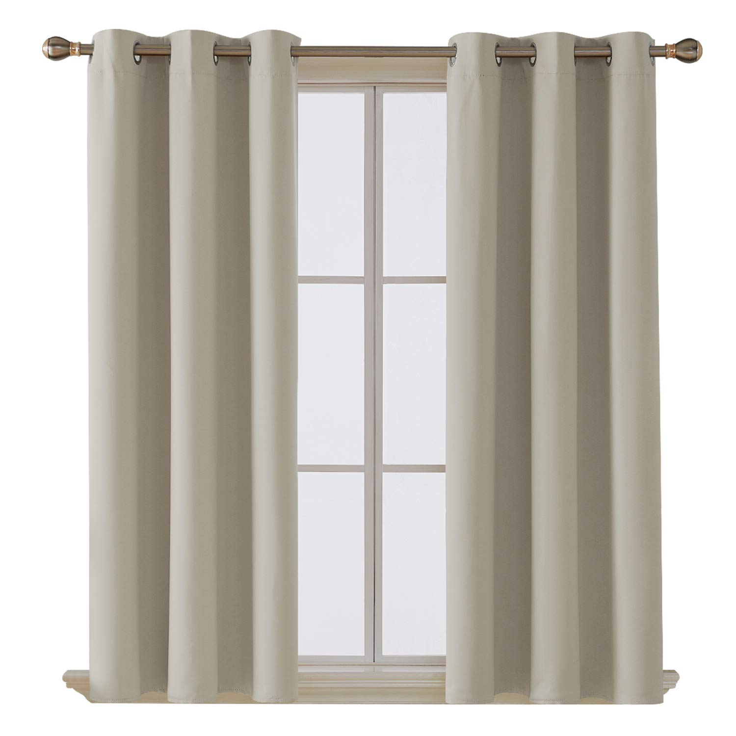 Deconovo Room Darkening Thermal Insulated Blackout Grommet Window Curtain Panel for Living Room, Light Beige, 42x63 Inch, 1 Panel