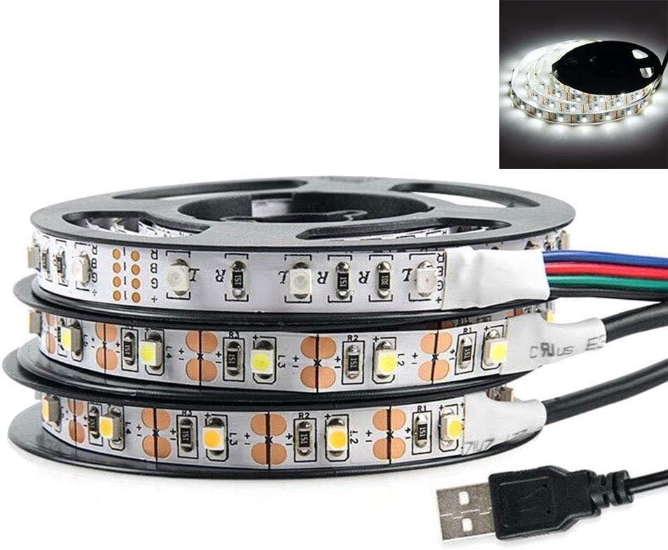 LPxdywlk Tira De Luces LED, 0.5/1/2/3/4 / 5m DC 5V USB 3528 SMD Tira De Luz LED Armario TV Fondo Fiesta De Boda Decoración Navideña Ahorro De Energía, Fácil De Instalar Blanco Frio 5m