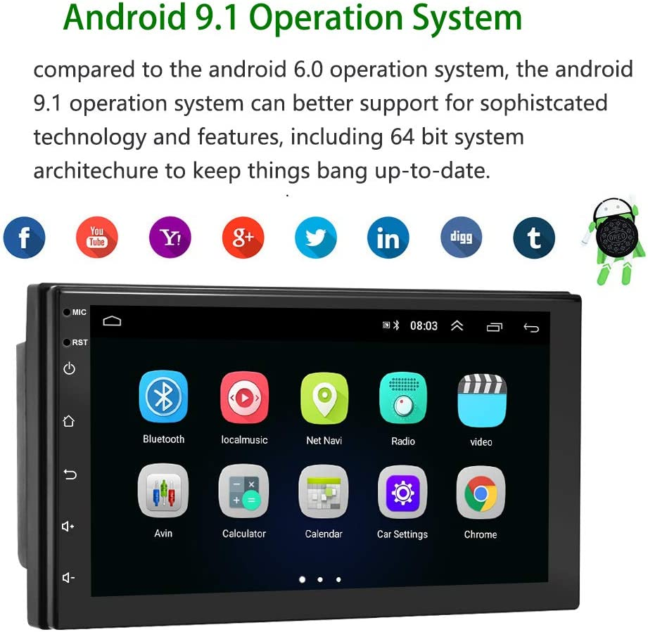 Android 9.1 Car Stereo Double Din Car Radio with Bluetooth 7 ...