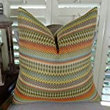 Thomas Collection Decorative Stripe Throw Pillow, Light Green Brown Yellow Orange Gray Cream Tan Stripe Pillow, Zig Zag Chevron Designer Pillow, COVER ONLY, NO INSERT, Made in America, 11042