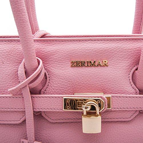 Bolsos Rosa Color Borsa Borse Colore Nero Di Piel Donne Grande Misure Zerimar Delle 20x32x12 De Grandi Pelle Bolso Mujer Negro Medidas Mano Para qwOfTPp