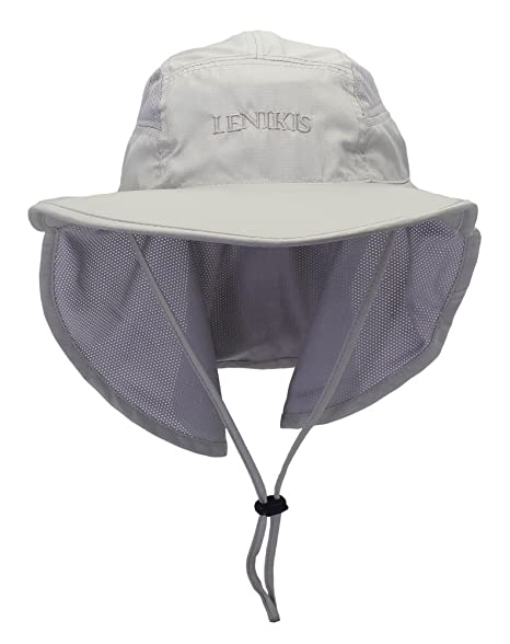 Lenikis Unisex Outdoor Activities UV Protecting Sun Hats with Neck Flap Grey 223f96e7f9b7