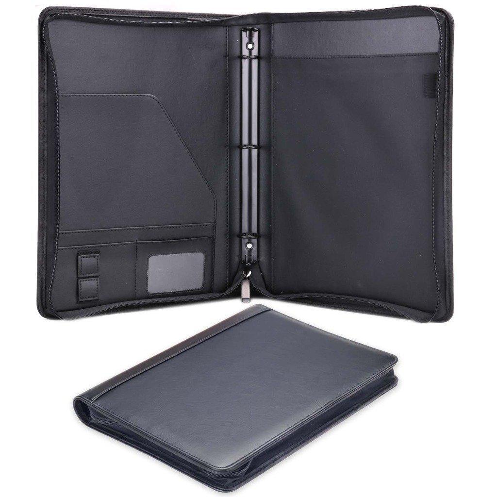 Plinrise Smooth Zippered PU Leather Portfolio With Loose-leaf Binder, A Multifunction Folder For Business Men Or Women/Teacher Gift