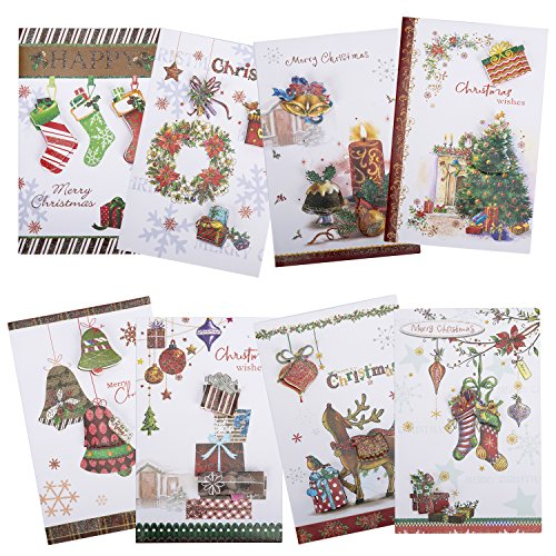 Christmas Cards Holiday Cards Merry Christmas Cards -8 PCS Variety Cards and Envelopes