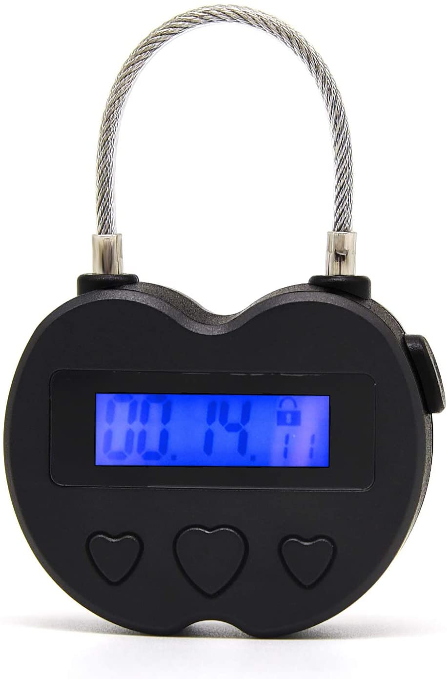 Time Lock LCD Display Time Lock Multi-Function Electronic Timer, USB Rechargeable Timer Padlock (Black)