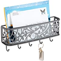 mDesign Modern Letter Holder – Metal Wall Mounted Letter Rack with Key Hooks – Post Sorter for the Entrance and Hallway – Graphite