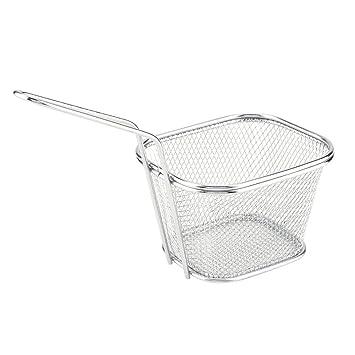 Wifehelper 2 Piezas de Mini Chips Fry Basket Acero Inoxidable Freidoras Cestas Colador Papas Fritas Acero