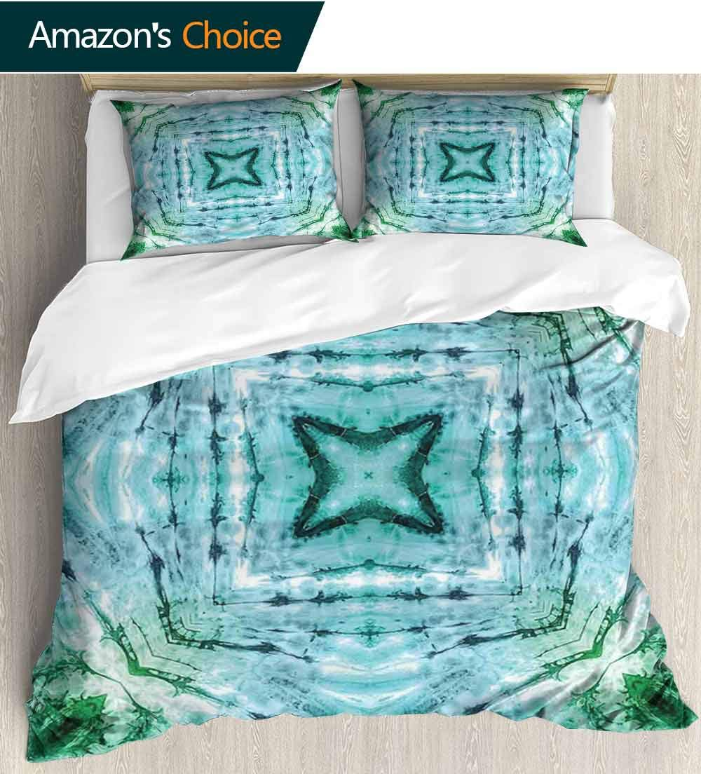 Tie Dye Decor European Style Print Bed Set,Star inside Square Shaped Kaleidoscope Tie Dye Motive with Outer Figures Image 100% Cotton Bedspread/ Quilt Set, 3 Pieces(68''W x 85''L) Teal Blue