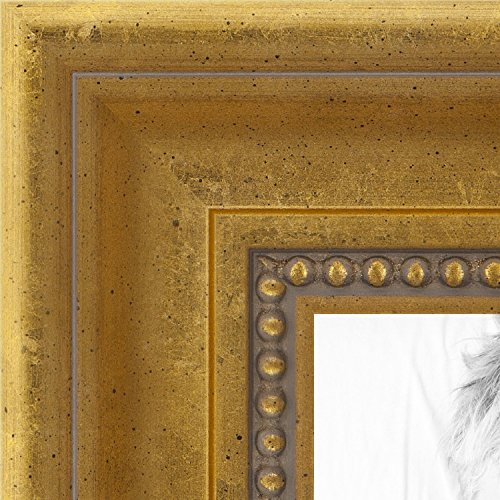 ArtToFrames 16x36 inch Antique Gold with Beaded Detailing Wood Picture Frame, 2WOMD5042-16x36 by ArtToFrames