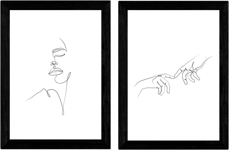 Nacnic Set de 2 láminas de Dibujos con un Solo Trazo Manos de Hombre y Rostro de Mujer. Posters con una Sola Linea. Tamaño A3 sin Marco