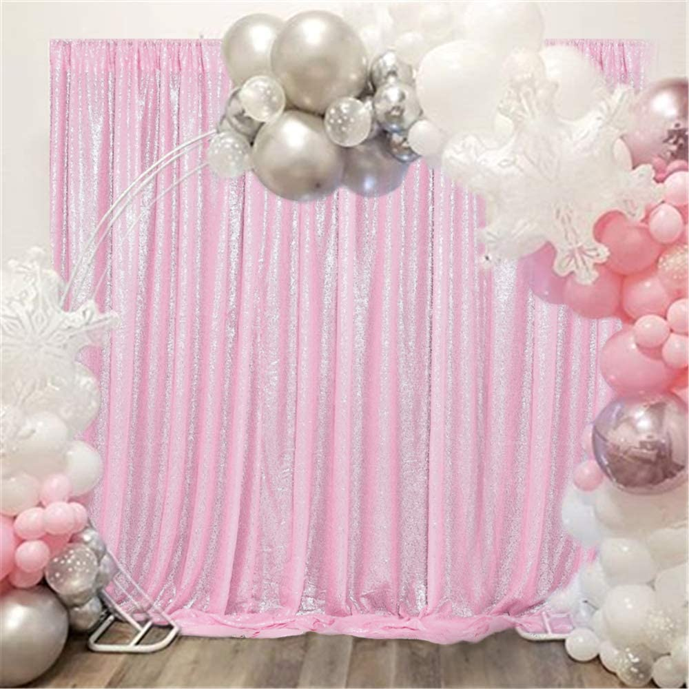 QueenDream 7FTx7FT Sequin Backdrop Panels Pink Sequin Fabric Shimmer Curtains for Party Decoration