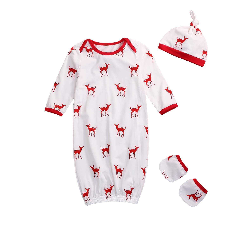 Newborn Baby Sleeping Gown, Cotton Sleeping Bags Deer Animal Swaddle Sack Coming Home Sleepwear Romper Outfit 0-12 Months)