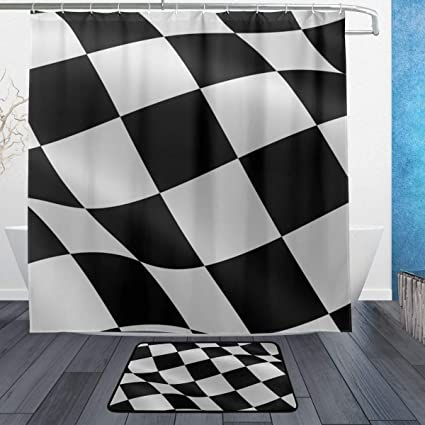 Image Unavailable Not Available For Color LORVIES Checkered Flag Bathroom