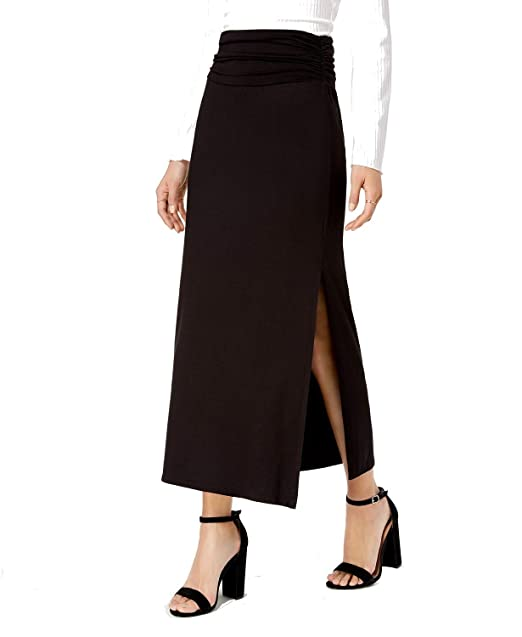 5955ea95023 Image Unavailable. Image not available for. Color: BCX Womens Ruched  High-Waist Jersey Knit Maxi Skirt Black XXS