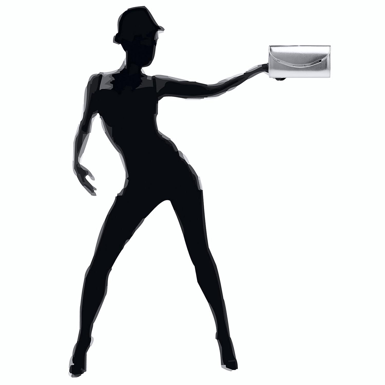 Sac /à main avec longue cha/înette CASPAR TA383 Pochette de soir/ée forme baguette pour femme