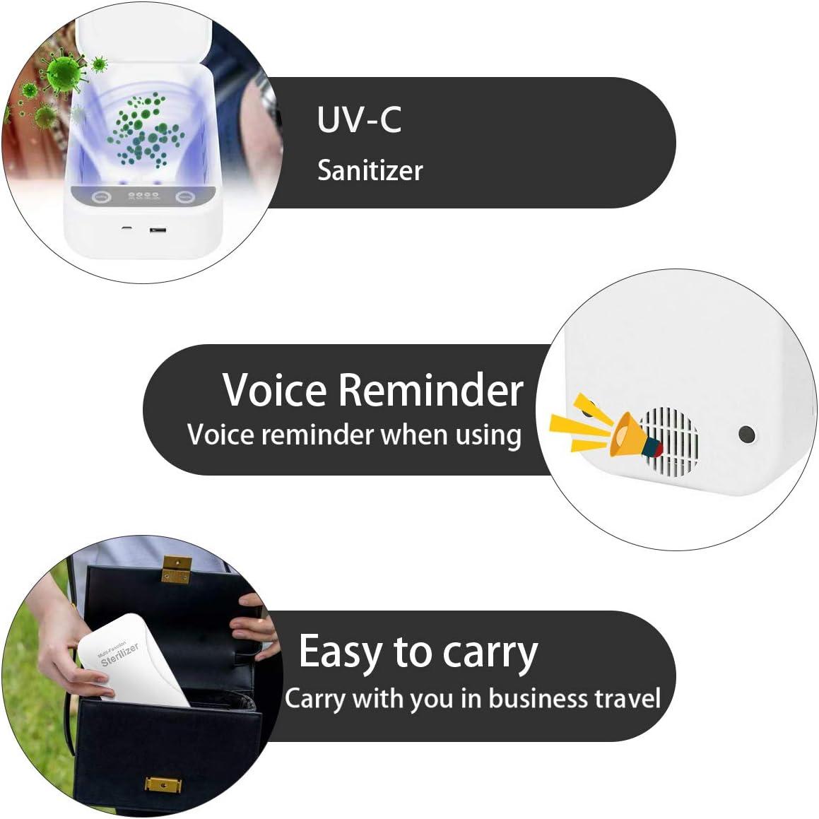 ACADGQ Scatola Portatile per Disinfezione UV,Sterilizzatore Sterilizzante a luce UV per telefono cellulare,Multifunzionale Portatile sterilizzatore UV Mask sterilizzatore con Funzione aromaterapia Blu