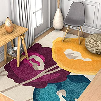 """Modern Sonya Floral Multi Yellow Blue Purple & Beige Vibrant Modern Watercolor 3x5 (3'3"""" x 4'7"""") Area Rug Contemporary Thick Soft Plush"""