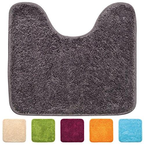 Beautissu® WC-Vorleger mit Ausschnitt - 45x50 cm - weiche, rutschfeste Stand-WC-Matte aus Microfaser (1200 g/m²) - Grau