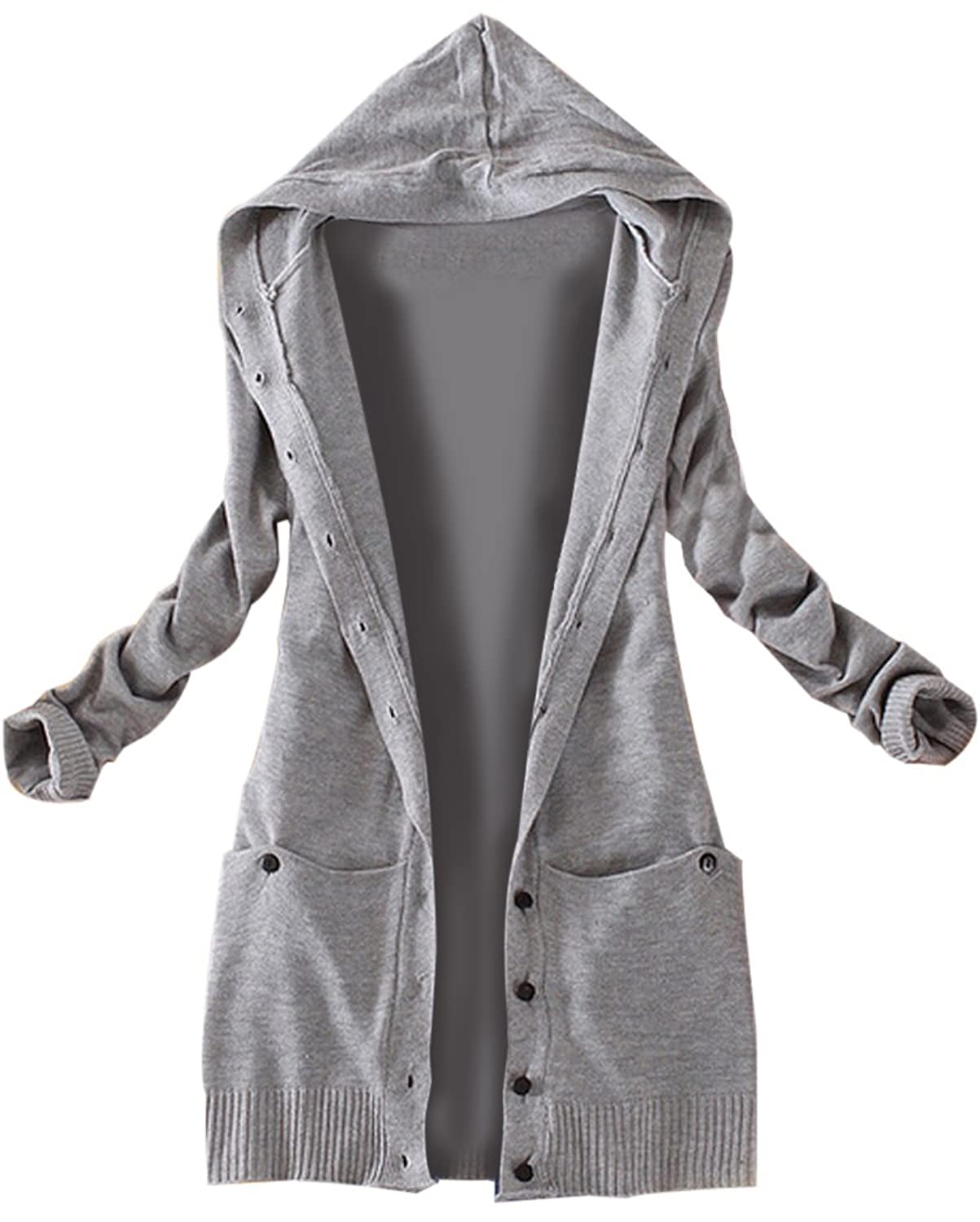 Amazon.com: Korean Women's Casual Long-sleeved Knitted Hooded ...