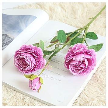 Beisoug Los Mejores Regalos de San Valentín Artificial Falso Western Rose Flor peonía Ramo Nupcial Boda decoración para el hogar (61cm): Amazon.es: Hogar