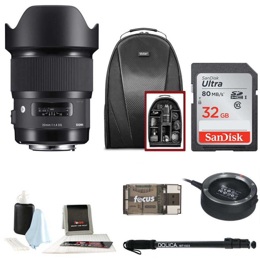 Sigma 20mm f/1.4 Art Lens for Canon EF w/ Digital Pro Sling SLR Backpack & 32 GB SD Card Bundle