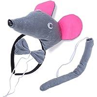 BESTOYARD Disfraz de Raton para Niños Diadema Animal Conjunto de Orejas Animal Cola y Pajarita Traje de Costume para…