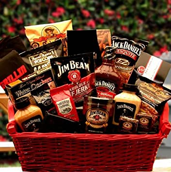 18 pc BBQ Gift-Jack Daniels + Jim Beam Themed Snacks, Barbecue Sauce