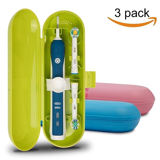 Cepillo de dientes eléctrico de plástico, funda de viaje para Oral-B Pro Series, 3 paquetes (azul, rosa y verde): Amazon.es: Salud y cuidado personal