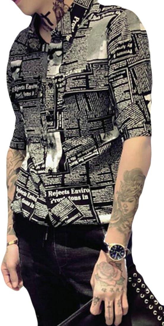 Fubotevic Men Summer Regular Fit Letter Printed 1//2 Sleeve Lapel Collar Blouse Shirt Tops