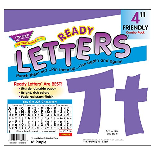 Trend Enterprises Friendly Uppercase/Lowercase Combo Pack Ready Letters, 4