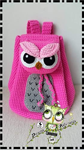 Mochila BÚHO PERSONALIZABLE (Bebé, crochet, ganchillo, muñeco, peluche, niño,