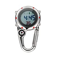 Clip Watch Multi- Functional Microlight Watch Stainless Steel Hanging Watch Clip on Quartz Watch for Climbing Hiking