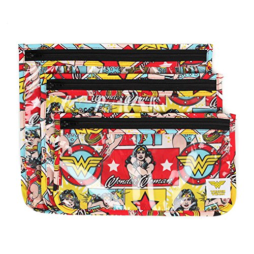Bumkins DC Comics Wonder Woman TSA Approved Toiletry Bag, Travel Bag, PVC-Free, Vinyl-Free, Clear Front, Set of 3