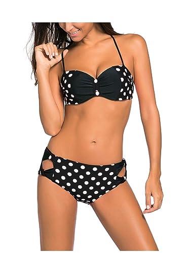 0b38d3e250fdd Kaamastra Women s Polka Dot High Waist Bikini Swimsuit(KA LC41926-2 ...