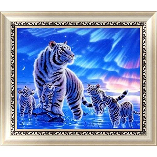 Chige DIY 5D Diamond Painting Kit, Cross Stitch Craft Kits Rhinestone Embroidery Wall Stickers Pasted Picture Drawing for Living Room Craft Home Wall Decor (White Tiger) (Tigers Snowman)