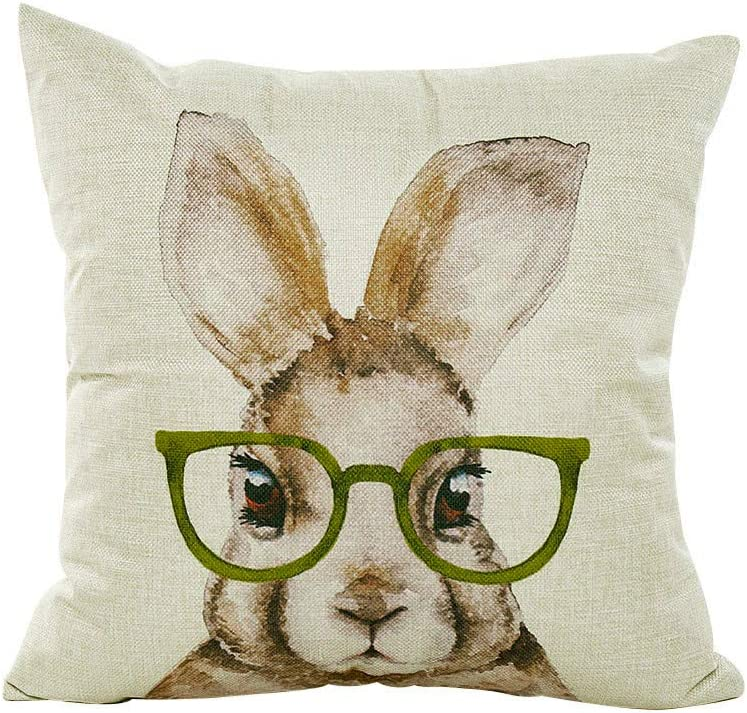 Easter Bunny Pillow Cover with Faux Fur