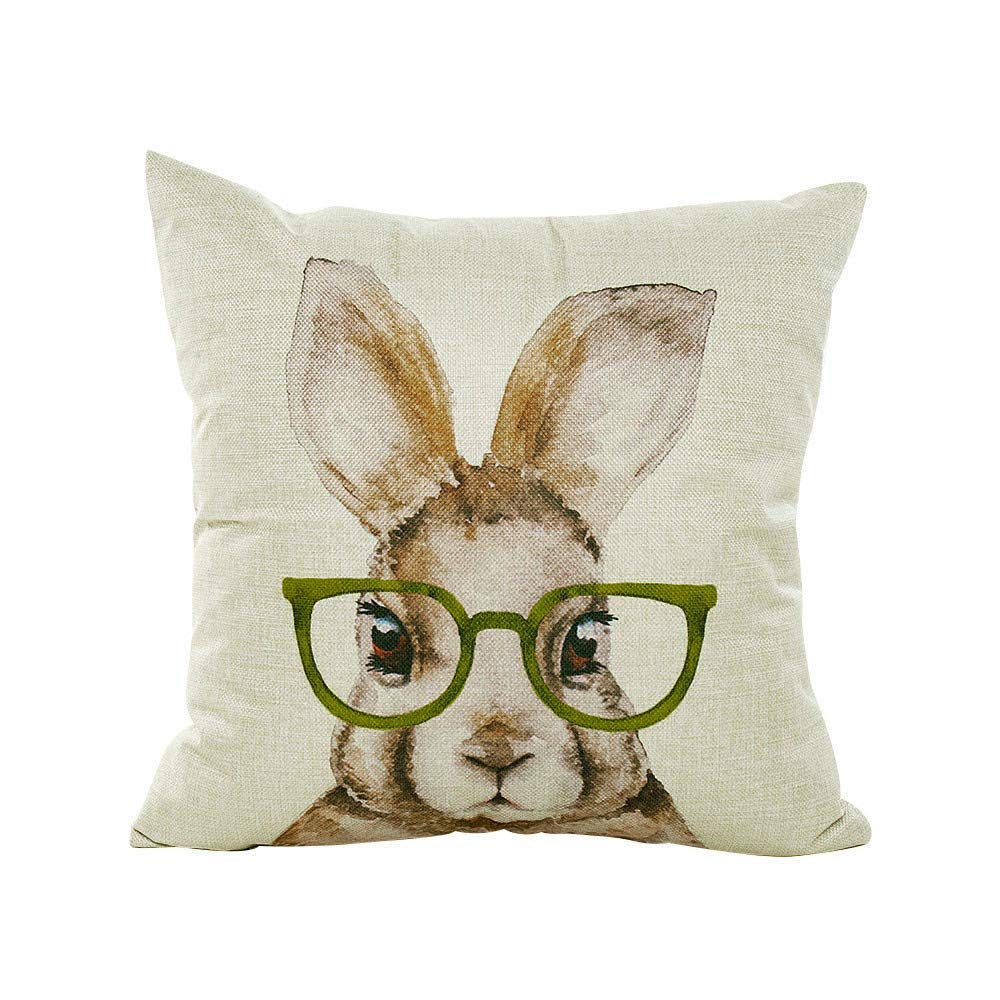 Throw Pillow Covers Cute Funny Easter Bunny Rabbit Glasses Pillowcases Polyester 18 x 18 Inch Square with Hidden Zipper Home Sofa Cushion Feishe(A,18x18 Inch)