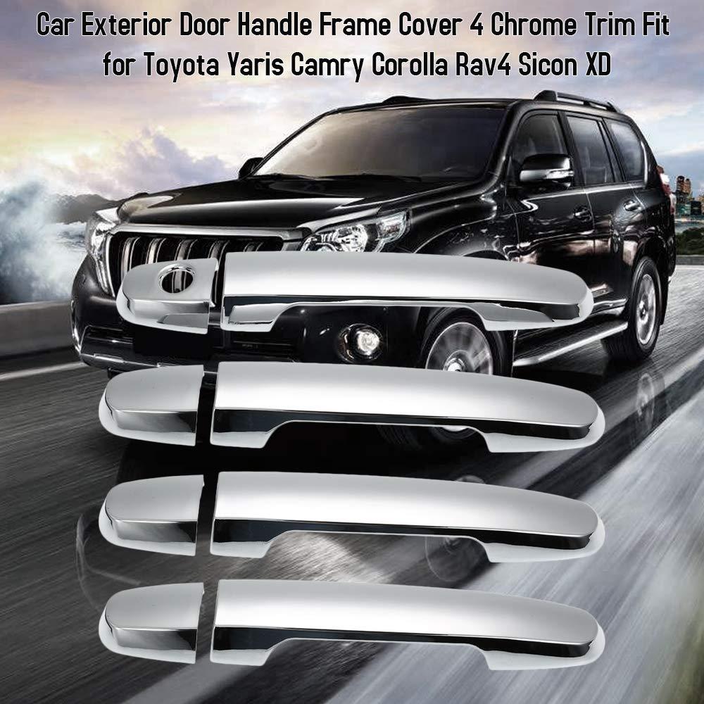 4 Finiture della Portiera Laterale Cromata per Toyota Yaris Camry Corolla Rav4 Sicon XD KKmoon Coperchio Cornice Maniglie Esterne Porte Auto