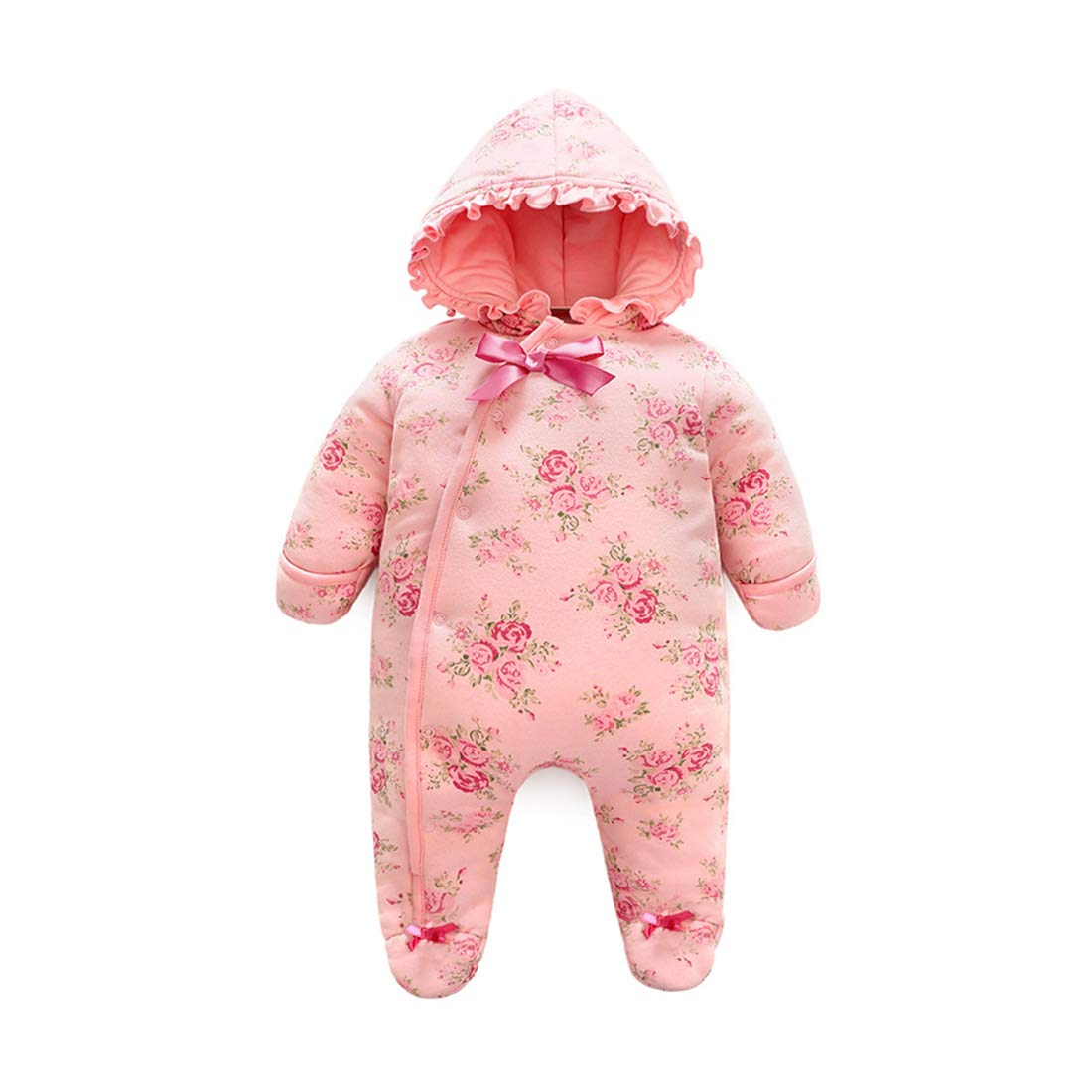 ALLAIBB Infant Baby Girls Floral Warm Thick Sleepsack Hooded Jumpsuit Romper Outwear